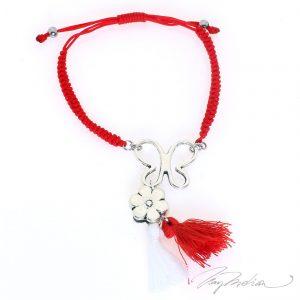 Pulsera Martisor CORTEMARFLO Roja tejida con Mariposa de la Colección MARTIE