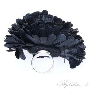 Anillo de Bisutería Flor de Tela FLOR2 Negro de la Colección CORONA