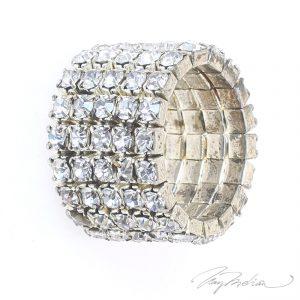 Anillo de Cristales  Plateado STRASSARO de la Colección CORONA
