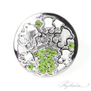 Anillo de Rodio y cristal de Swarovski Verde OSOCIRC2 de la Colección CORONA