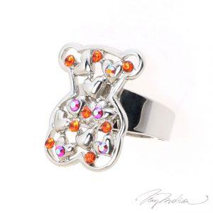 Anillo de Rodio y cristal de Swarovski Naranja OSORED de la Colección CORONA