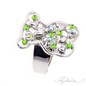 Anillo de Rodio y cristal de Swarovski Verde OSORED de la Colección CORONA