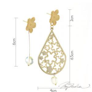 Pendientes Asimétricos Flores de Granada de la Colección Descon