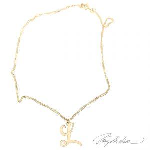 Colgante LETTERGOLD Personalizado LETRA en metacrilato con cadena oro laminado Gold Filled