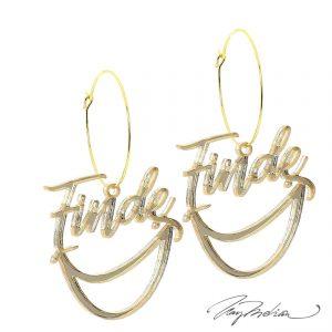 Set Collar y Pendientes FINDE personalizable de Oro Laminado